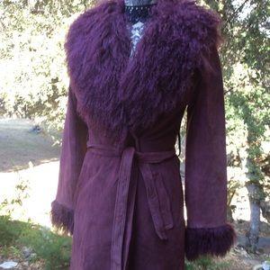 Vintage MOD Seventies Mongolian Lamb Suede Coat M